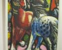 Adolf Saenger: Pferde, (1953), Tempera auf Hartfaser