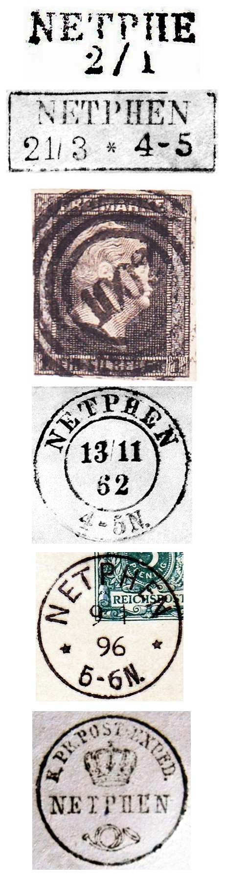 5-Post-u.-Dienststempel-Königl.-Preuß.-Post-Expedition-Netphen-im-19.-Jh.-Archiv-W.-L.