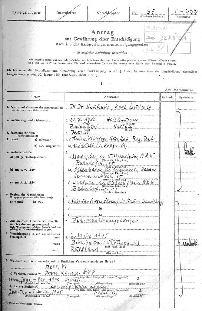 1. Seite des Antrages von Dr. Dr. Karl Neuhaus, Kreisarchiv Siegen-Wittgenstein