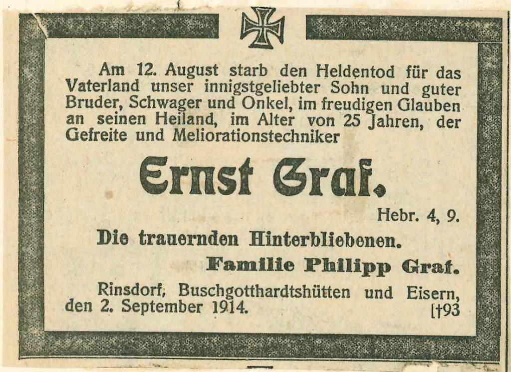 Aus: Schülerakte Ernst Graf (UASi WBS G)