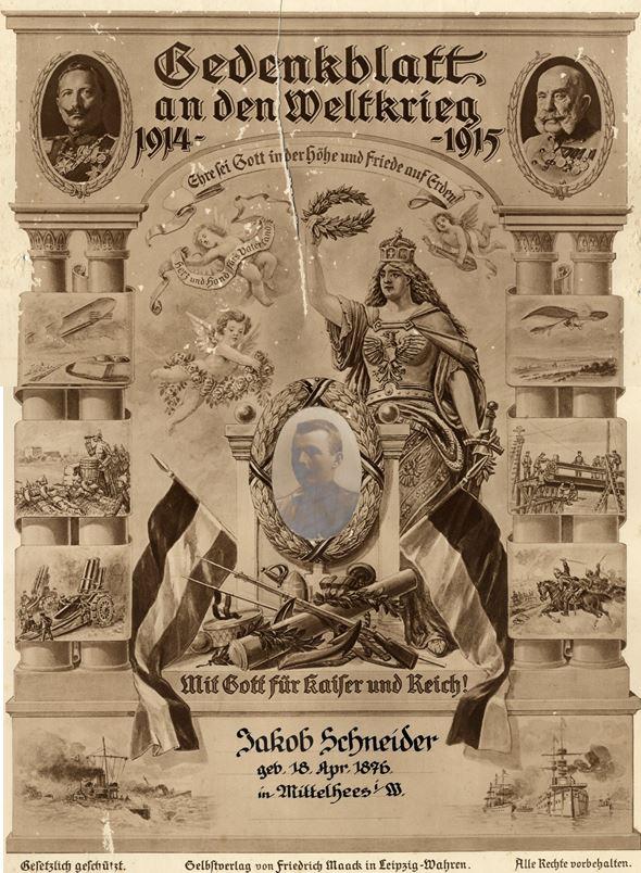 Gedenkblatt 1. Weltkrieg