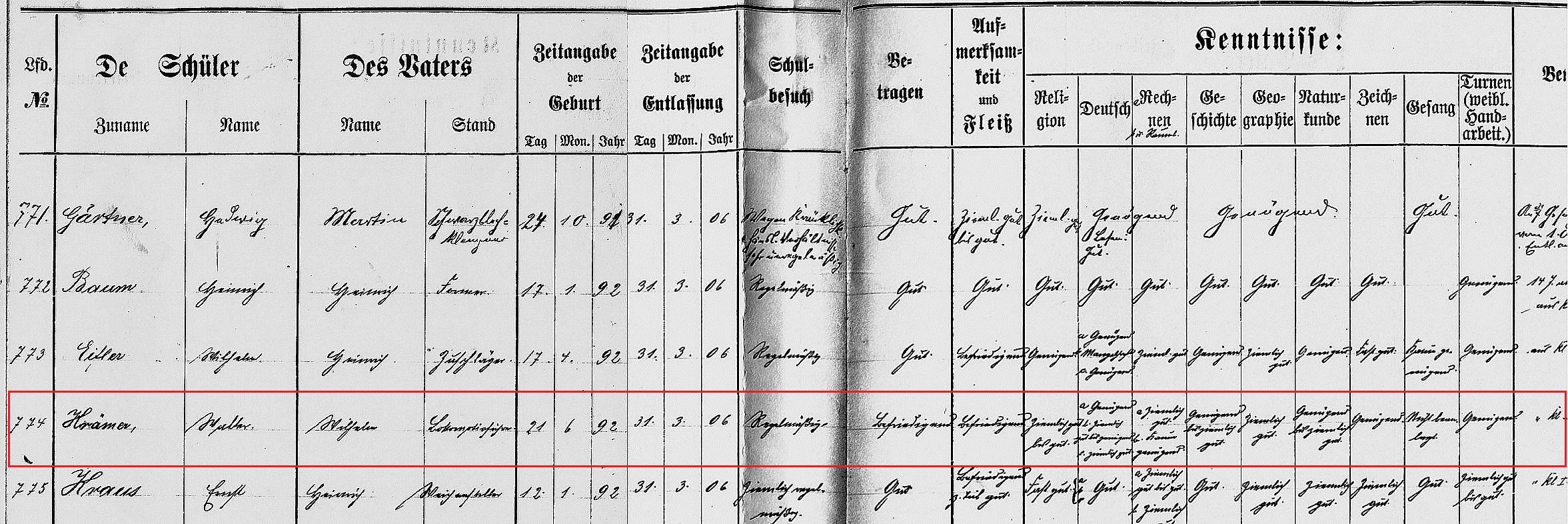 Quelle: Stadtarchiv Siegen Bestand Schulen Nr. 2590, Entlassungszeugnis=Buch für Hammerhütter Schule (ev.) zu Siegen 1888 - 1907 (Bearbeitung: Joe Mertens, VVN-BDA Siegerland-Wittgenstein)